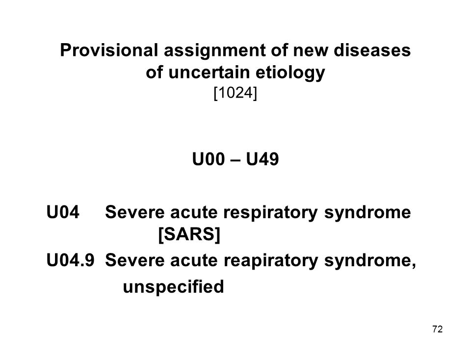 Provisional assignment of new diseases of uncertain etiology [1024]